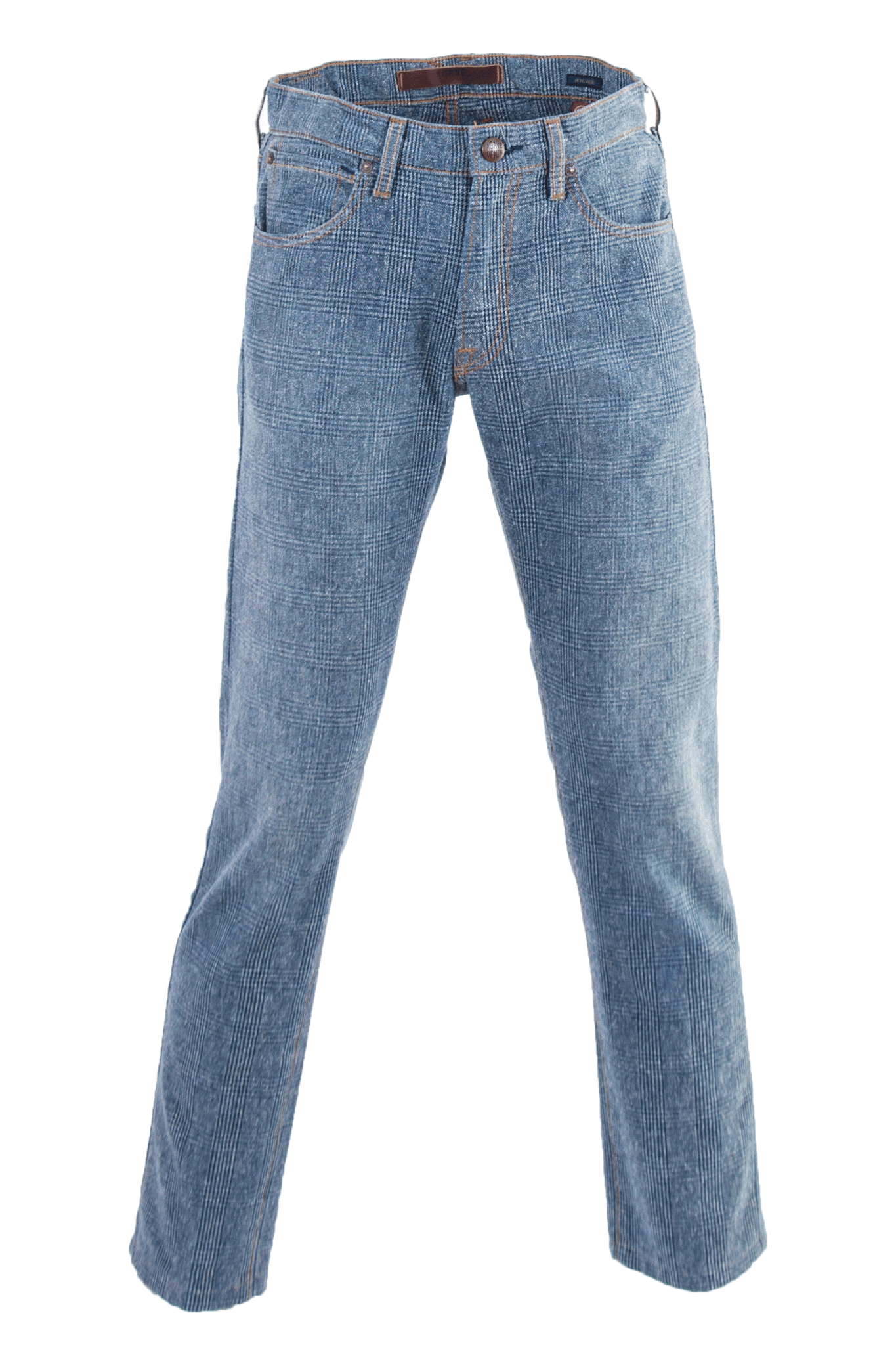 Agave denim jeans in blue plaid