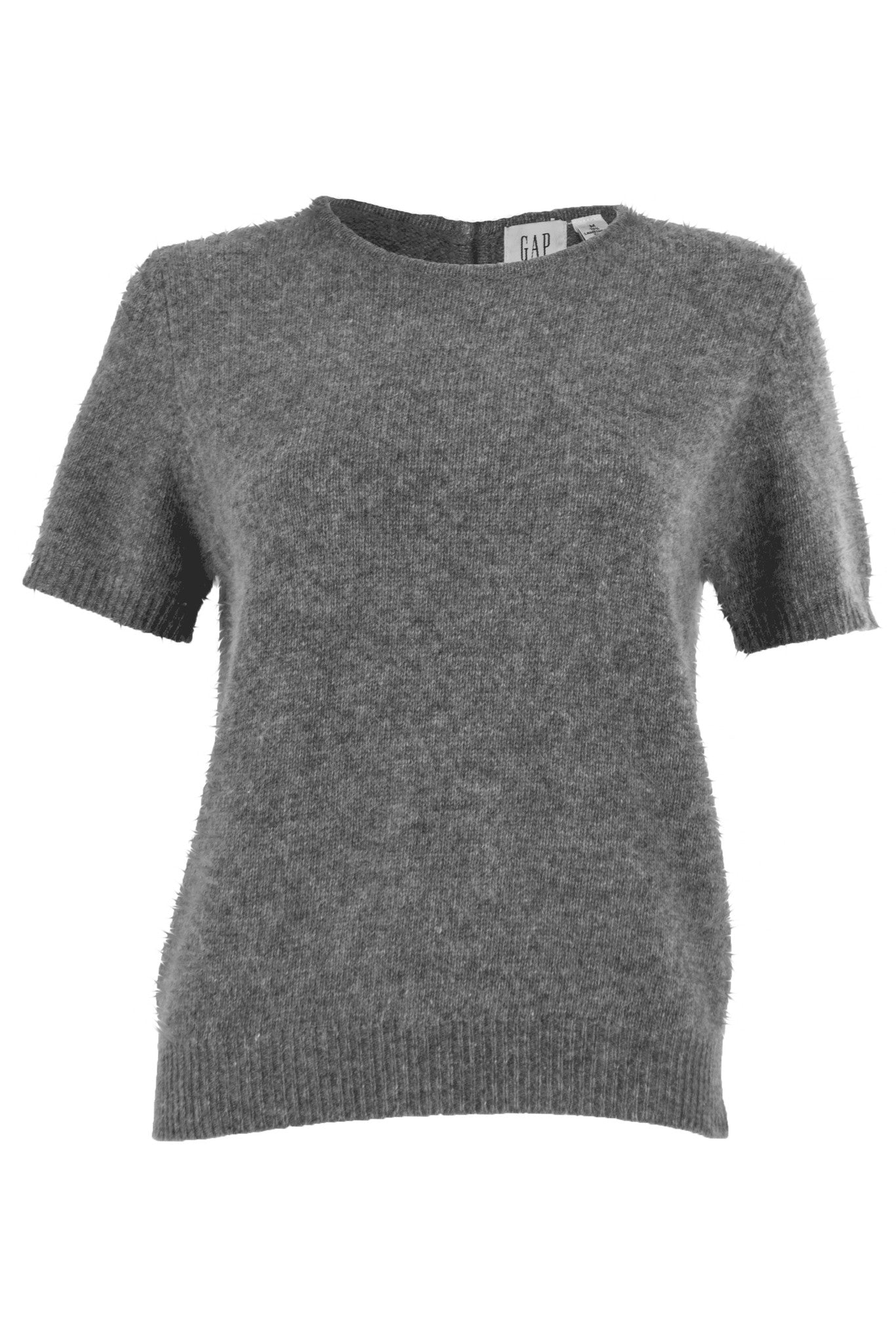 Grey angora sweater with short sleeves