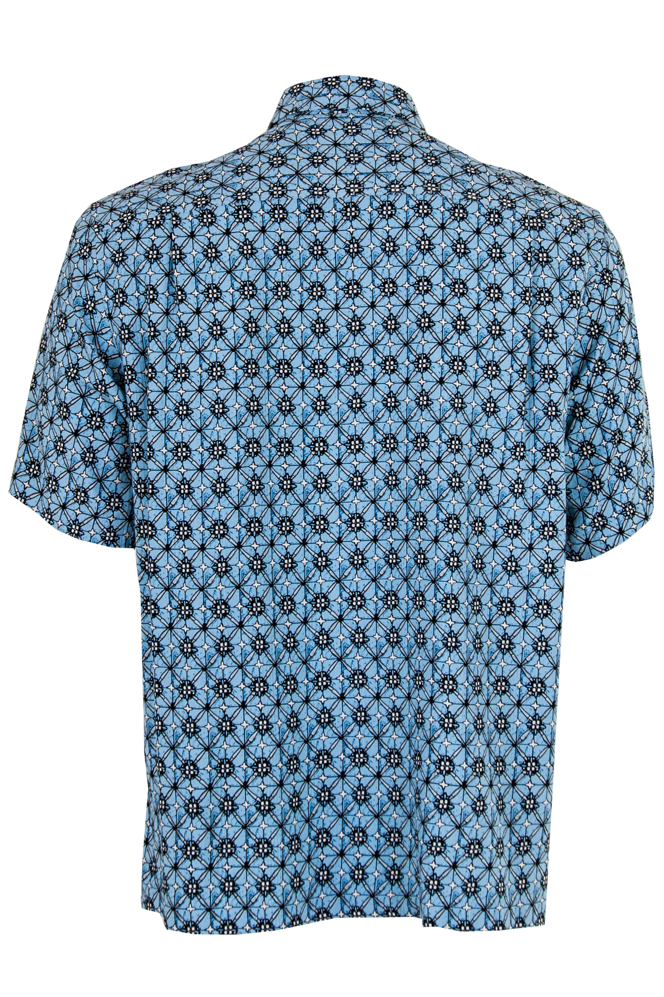 blue printed short sleeve shirt