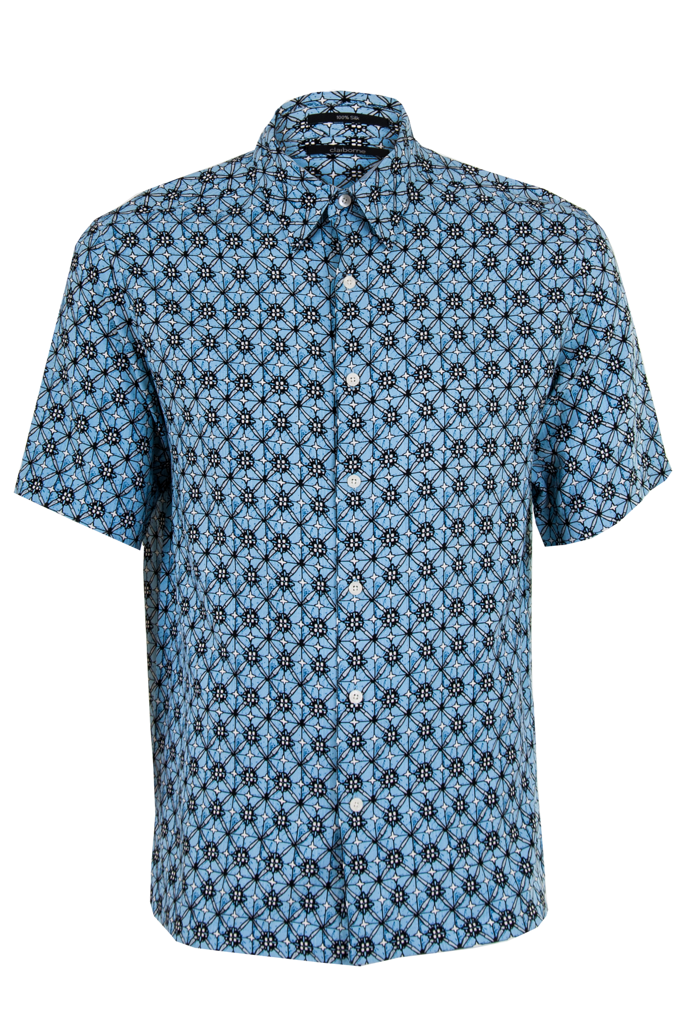 vintage printed button up shirt with short sleeves