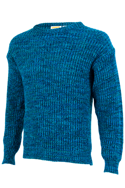 blue vintage sweater with rib knit trim