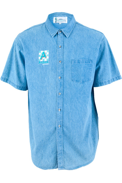 arizona ice tea shirt with button closure in denim blue