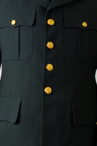 gold buttons on vintage army coat