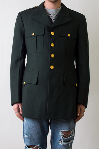 vintage green army blazer with gold buttons