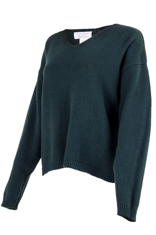 dark green sweater with v-neck
