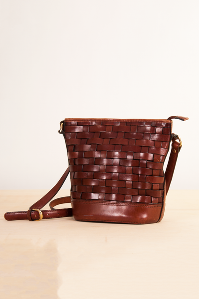 vintage brown leather woven bucket bag
