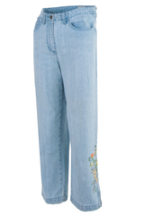vintage denim blue jeans with floral embroidery at side