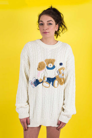 Vintage teddy bear sweater dress