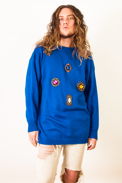 vintage blue embellished sweater