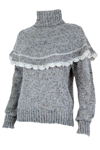 grey vintage sweater with turtleneck and crochet trim overlay