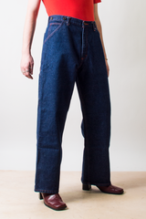 vintage blue jeans with wide leg