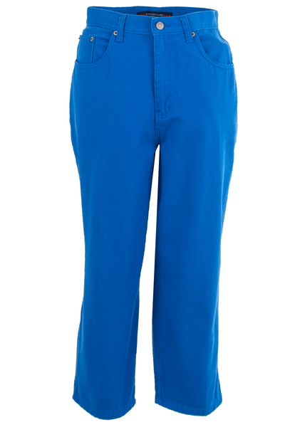 Front view of vintage high-waist electric blue jeans featuring cropped leg with hem slits, front button zip closure, and 5-pocket construction.