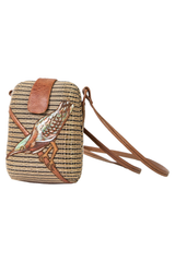 Vintage straw and brown leather bag with painted bird at front