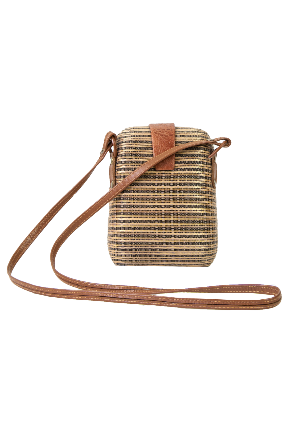 Vintage straw and brown leather bag