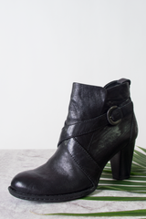 black buckled leather booties