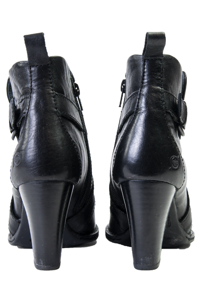 black leather booties with wooden heel
