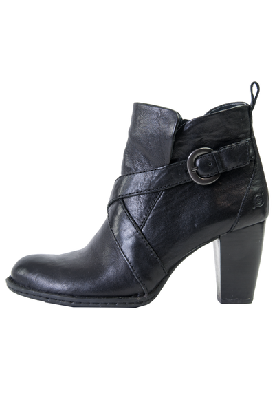 black leather booties with straps and wooden heel