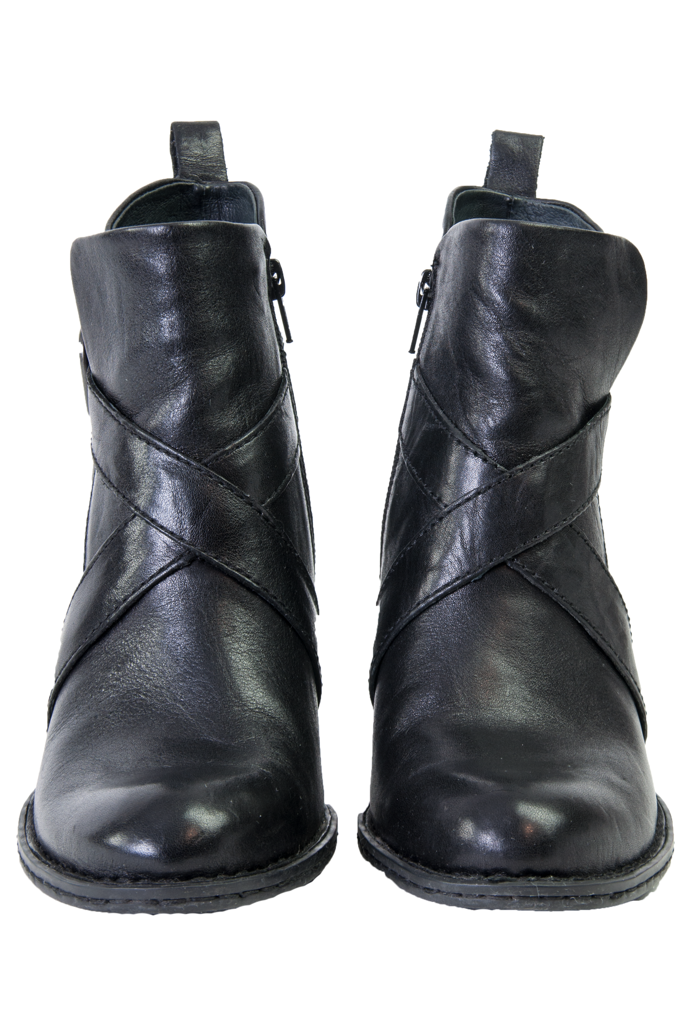 black leather booties with round toe and pull tab at back