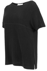 Black vintage t-shirt with split hem and seamed stitching