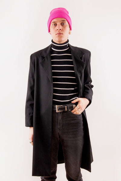 Retro unisex black duster coat