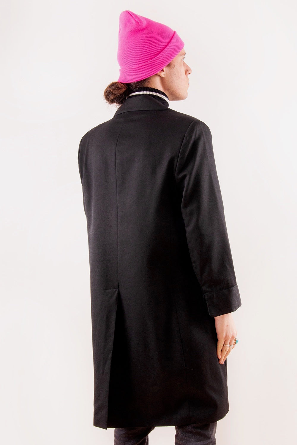 Vintage Wool Duster Coat in black