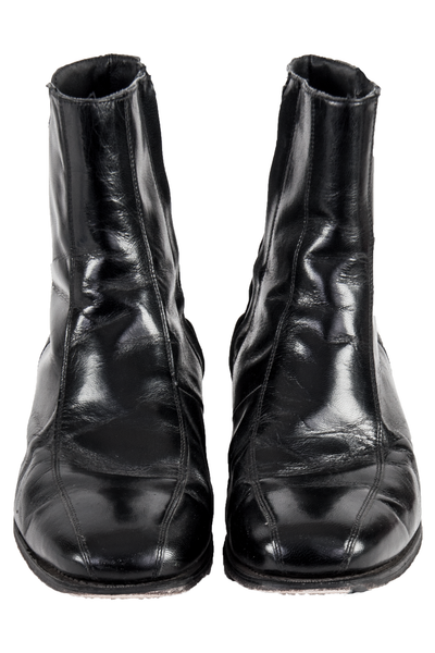 black leather boots with square toe