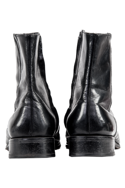 back of black leather men's boots