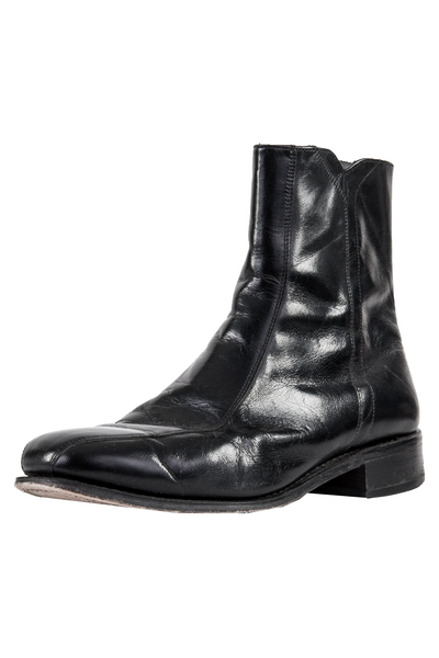 men's vintage black leather chelsea boots
