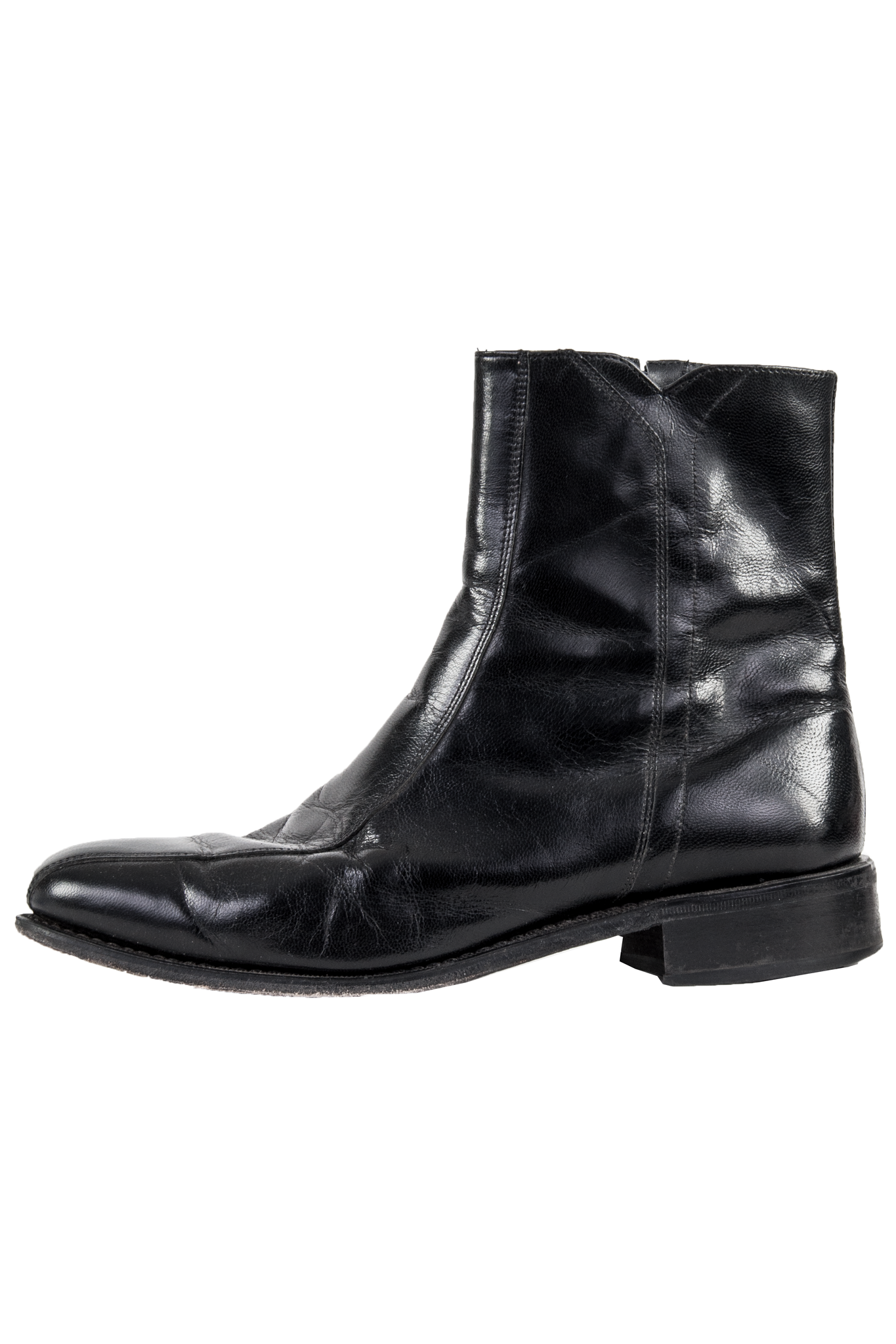 men's vintage black leather boots
