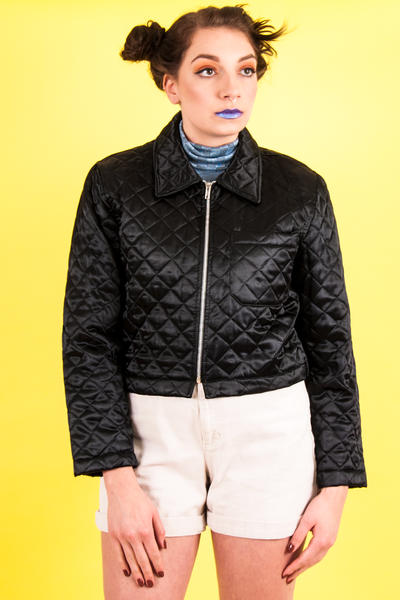 vintage satin quilted bomber in black