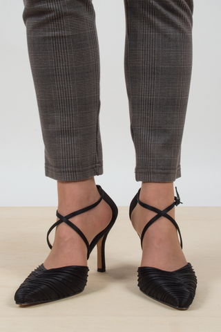 vintage ruched ankle wrap heels in black