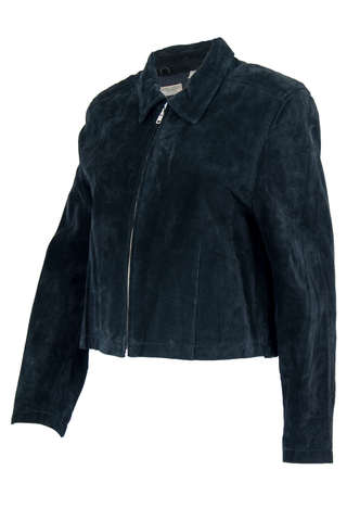 black suede jacket with point collar and zip front