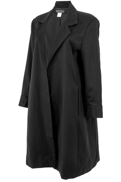 Vintage black wool crepe duster coat
