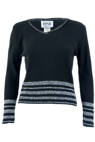 Black sweater with metallic silver stripes