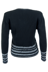 black vintage sweater with silver stripes