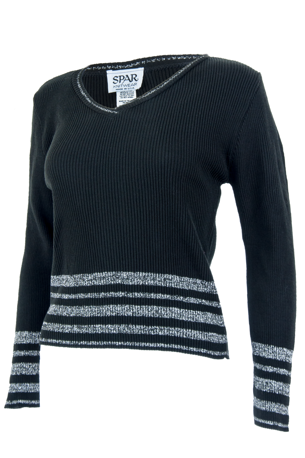black striped sweater with metallic silver threading and v-neck