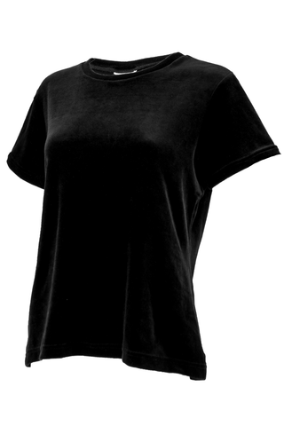 black velvet t-shirt with crew neck