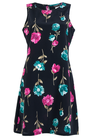 black vintage dress with floral print in pink and blue