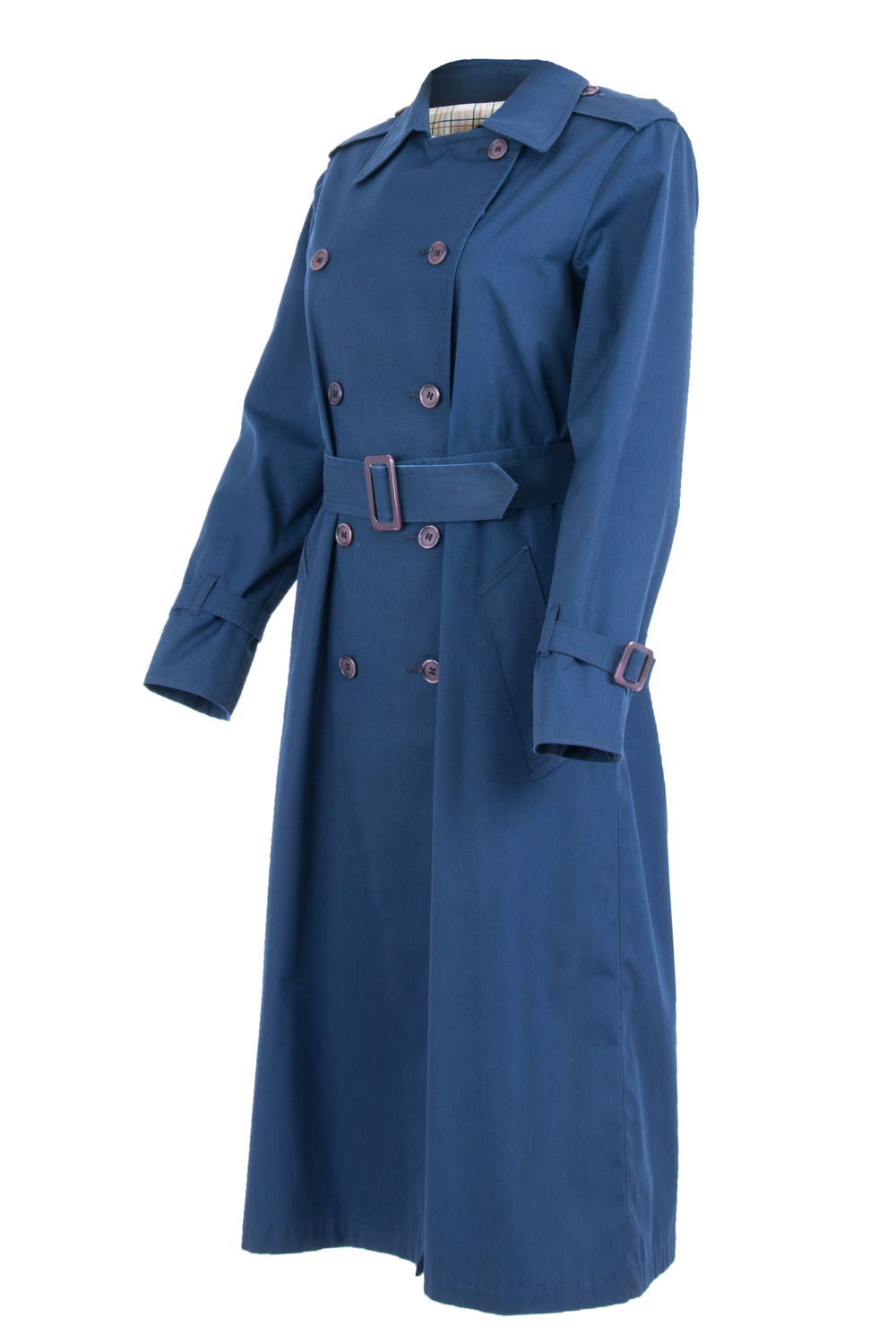 vintage blue trench coat with double breasted button closure and purple belt
