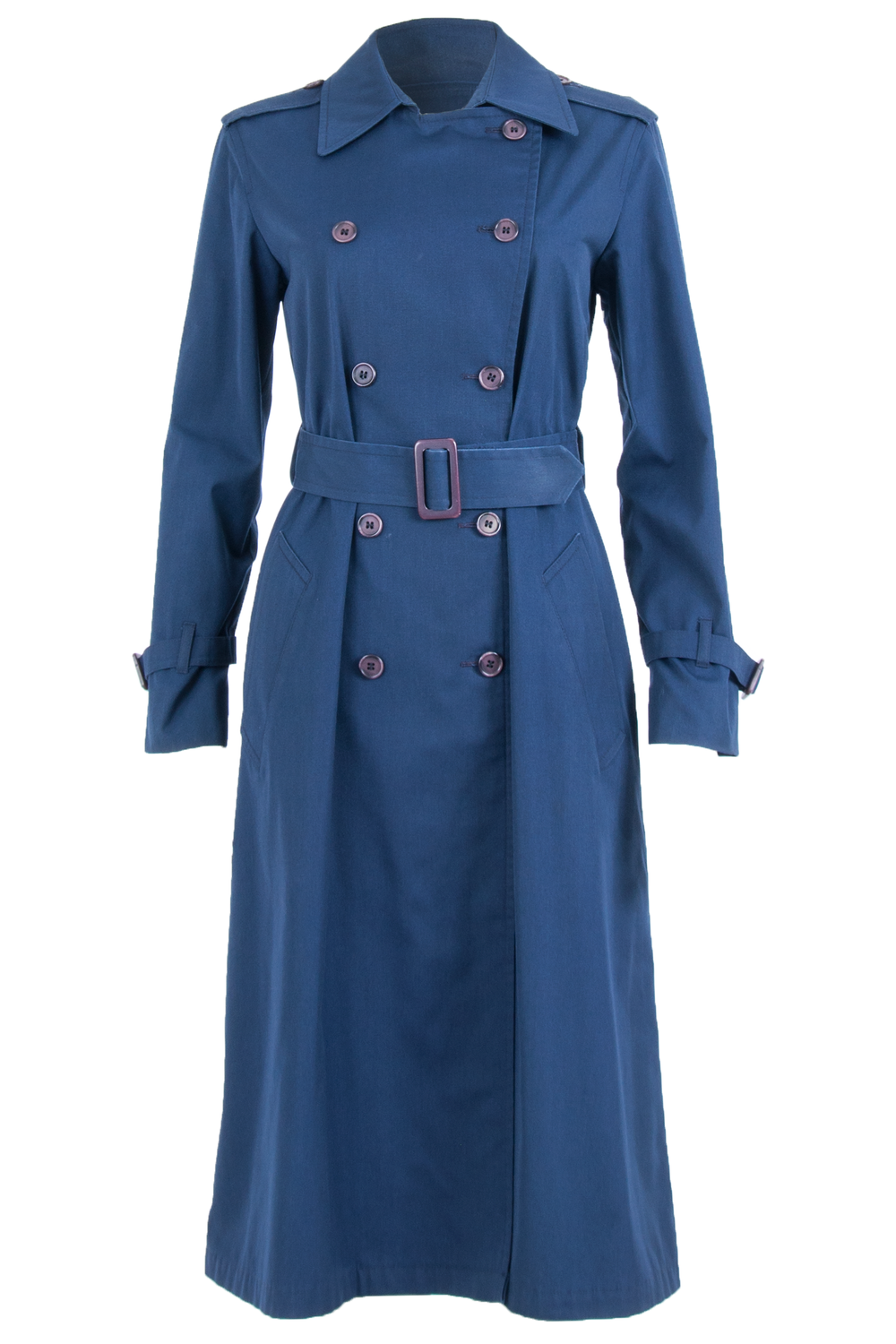 Vintage blue coat with double breasted button closure and purple belted waist