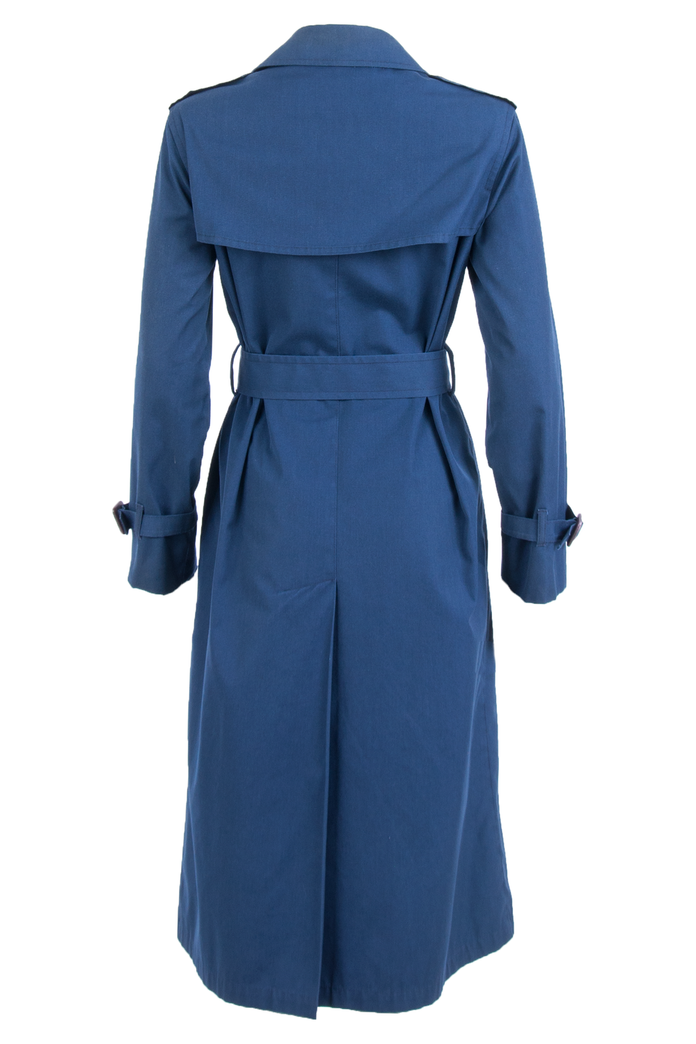 blue vintage trench coat back view