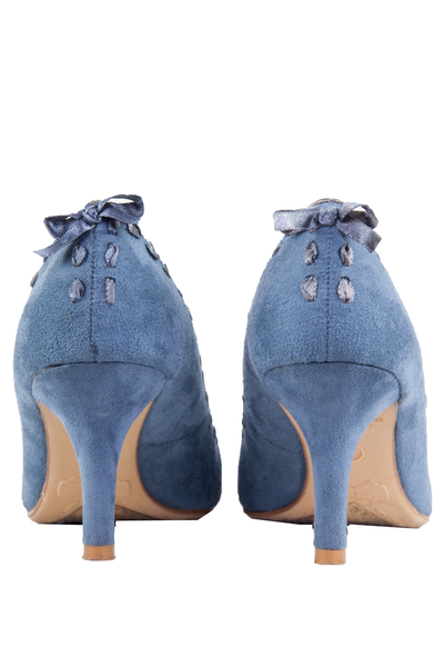 blue suede heels with satin ribbon