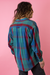 vintage flannel shirt in blue and red