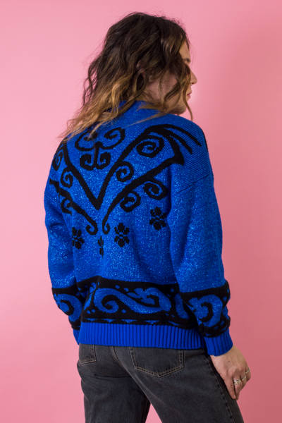 glam rock blue sweater
