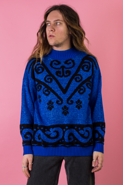 vintage blue glitter sweater with black pattern