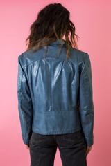 vintage blue leather jacket from the 70s