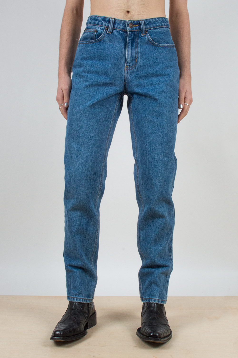 vintage blue jeans with slim-straight leg