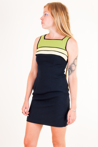 vintage navy blue dress with green stripes