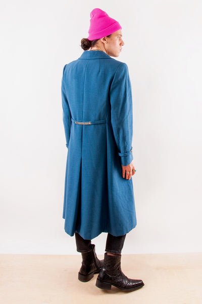 Vintage Wool-Blend Overcoat in Blue