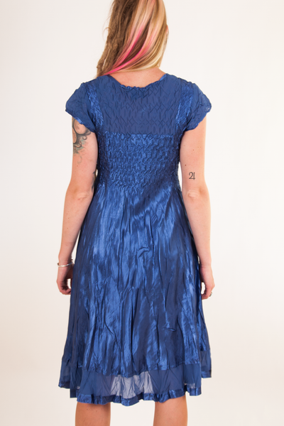 vintage blue shiny satin dress